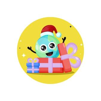 地球のクリスマスプレゼントかわいいキャラクターのロゴ