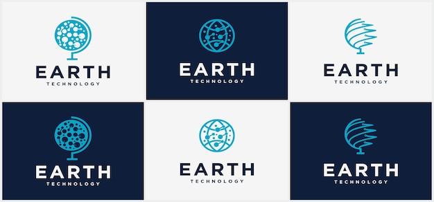 Шаблон дизайна логотипа технологии круга земли. шаблон дизайна логотипа мировых технологий, иллюстрация дизайна логотипа глобальных технологий