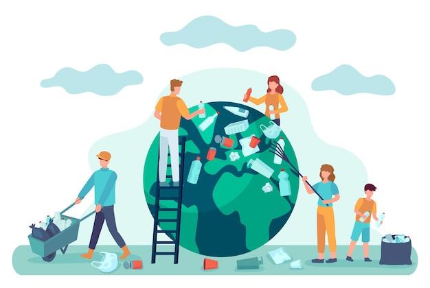 지구 청소. 사람들은 쓰레기로부터 세상을 청소합니다. 행성 생태 개념을 저장합니다. 오염 벡터 일러스트 레이 션에서 환경 보호입니다. 지구와 세계를 구하고 사람들은 환경 지구를 청소합니다.
