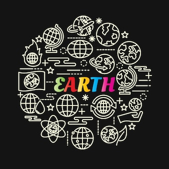 Earth colorful gradient with line icons set