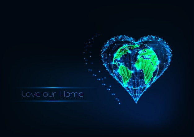 The earth conservation concept with futuristic glow low polygonal world map inside of heart