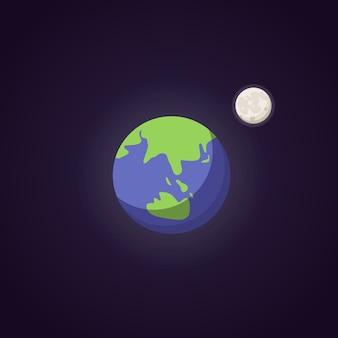 지구 귀여운 푸른 행성 아이콘입니다. 만화 ilustration 공간.