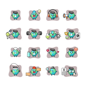 Earth cute and kawaii character set