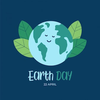 Earth day background with happy cartoon flat globe earth