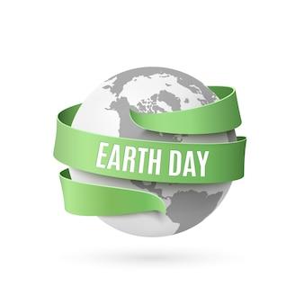 День земли фон с монохромным глобусом и зеленой лентой вокруг