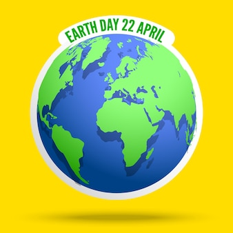 Earth day banner globe with world map
