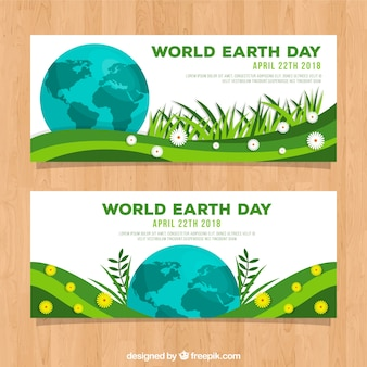 Earth day banners with world in flat style