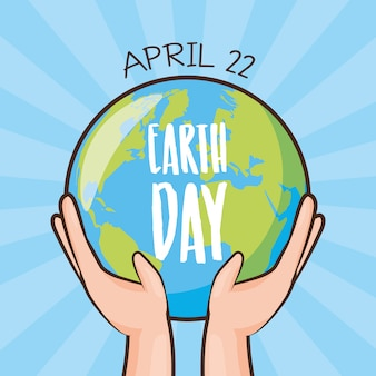 Earth day card, earth being held by hands, illustration