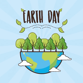 Earth day card, planet with forest, illustration