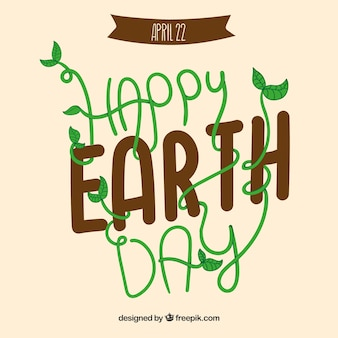 Earth day card with funny lettering
