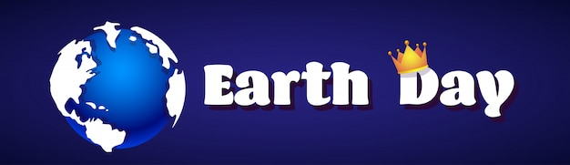 Earth day card with planet in crown environment protection holiday horizontal banner