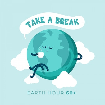 Earth day cartoon coffee