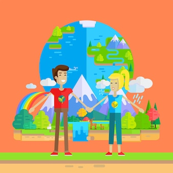 Earth day celebrating concept vector illustration.