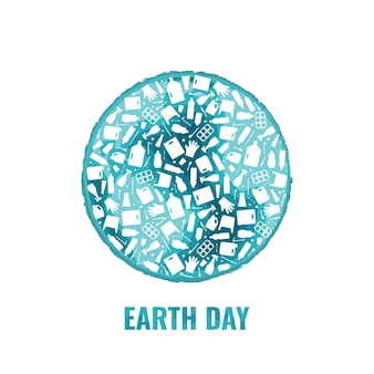 Earth day concept plastic trash planet pollution vector illustration round earth globe filled with