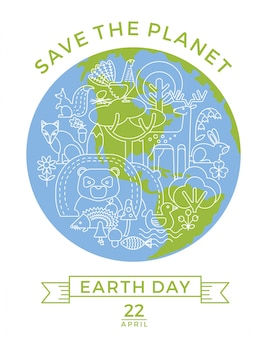 Earth day. conceptual design for the conservation of nature.