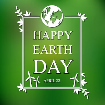 Earth day flat card on blurred background
