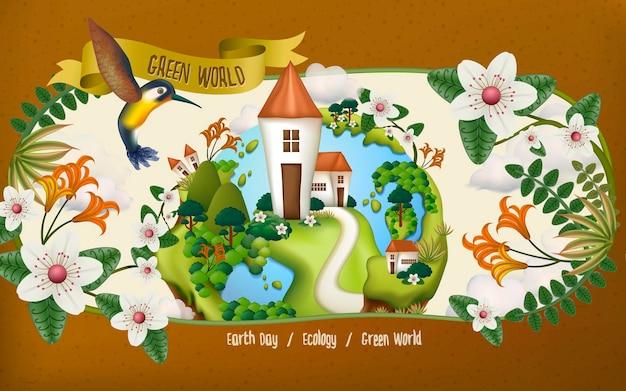 벌새, 꽃, 수많은 식물, 갈색 배경이 있는 지구의 날 그림
