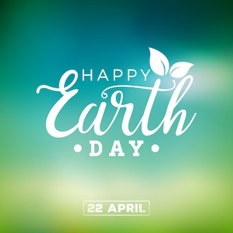 Earth day illustration with leaf.