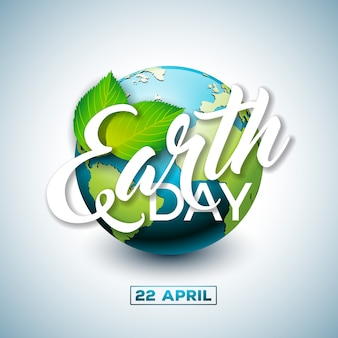 Earth day illustration with planet and green leaf.