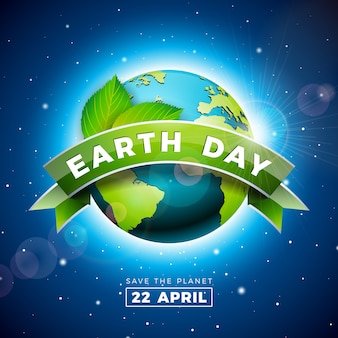 Earth day illustration with planet and green leaf