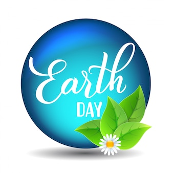 Earth day original hand drawn vector lettering.