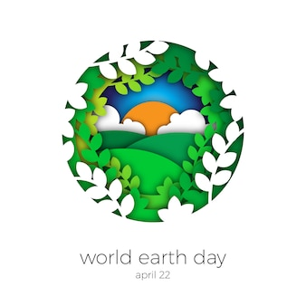 Earth day paper art illustration