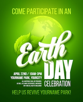 Earth day poster.  with the earth day lettering, planets and green leaves
