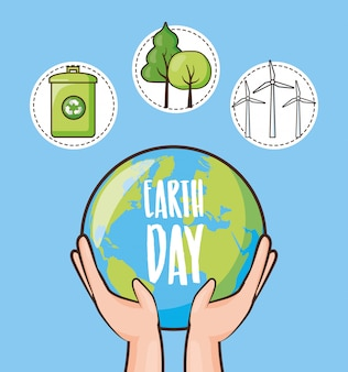 Earth day, set of icons with recycle can, trees and planet, illustration