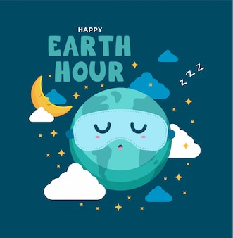 Earth day sleeping illustration