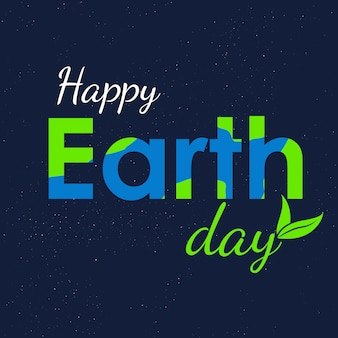 Earth day text and world vector flat graphic