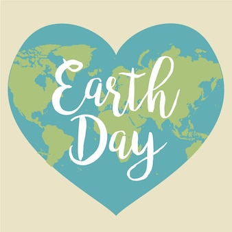 Earth day. vector illustration with the words, planets. heart. love.