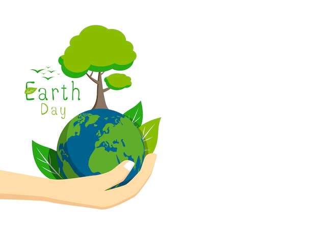 Earth day on white background