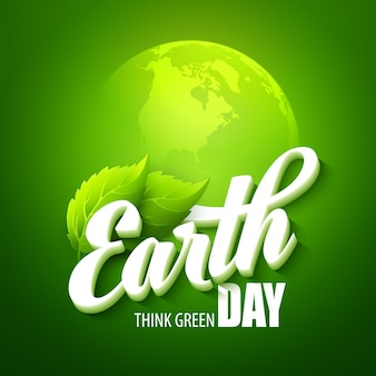 Earth day.  with the words, planets and green leaves