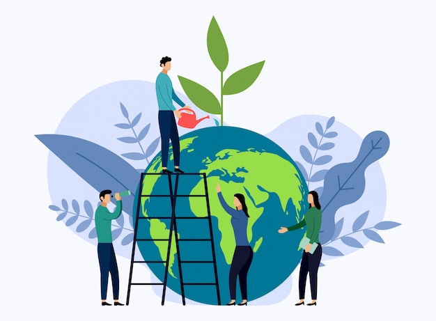 Earth day with world, eco friendly concept