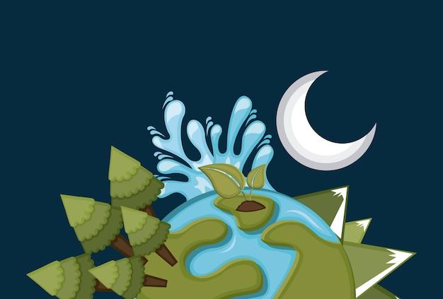 Earth design over blue background vector illustration