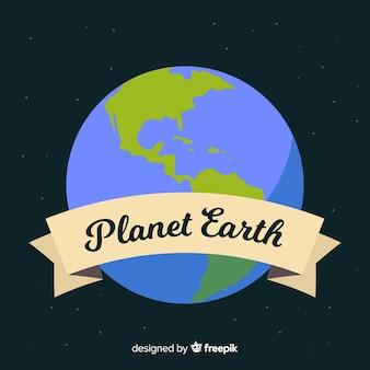 フラットスタイルの宇宙からの地球デザイン