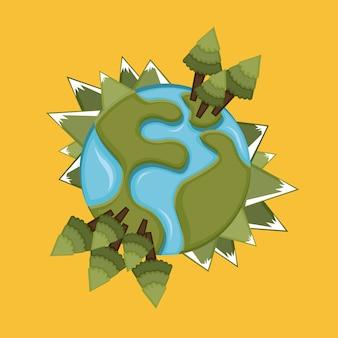 Earth design over orange background vector illustration