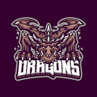 Eスポーツとスポーツチームのためのアースドラゴンマスコットのロゴ