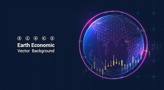 Earth economic on stock market graph - global economy concept economic growth graph chart.