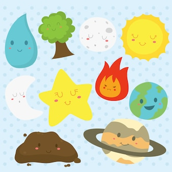 Earth elements with funny faces vector collection
