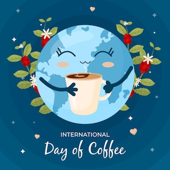 Earth enjoying a cup of coffee concept