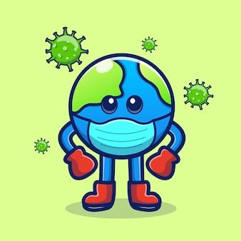 Earth fight virus vector illustration cartoon icon