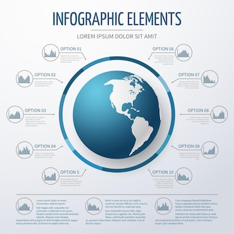 Earth globe 3d infographic template.