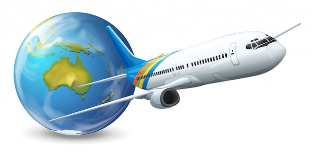 Earth globe and airplane
