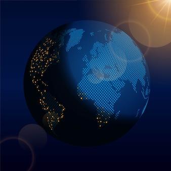 Земной шар ночью в космосе
