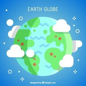 Earth globe background in flat design