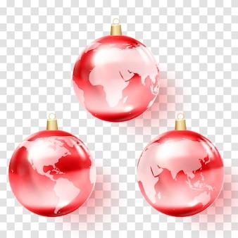 Earth globe in christmas ball