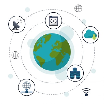 Earth globe in closeup and network storage icons around