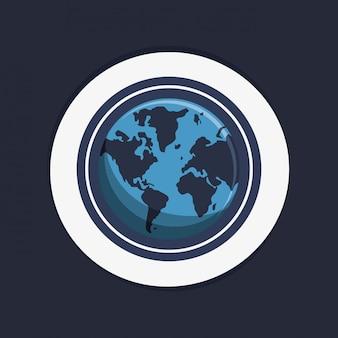 Earth globe emblem image