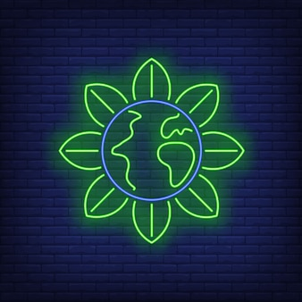 Earth globe flower metaphor neon sign.